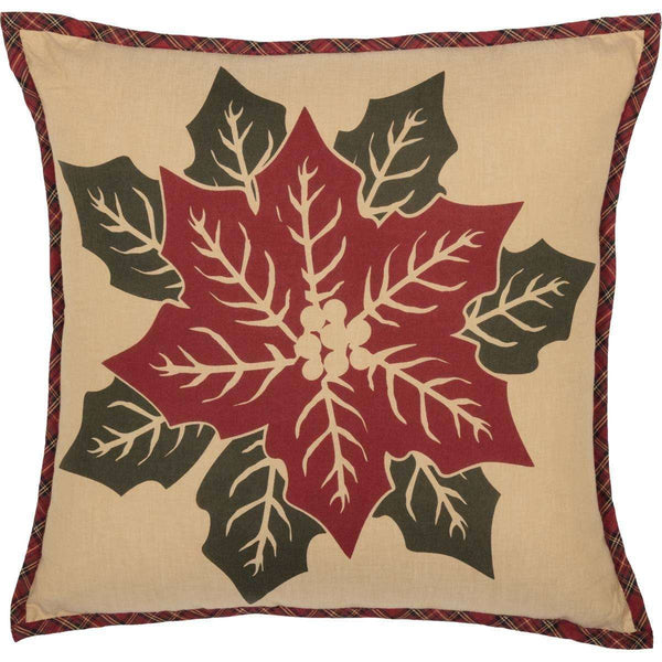 "National Quilt Museum Poinsettia Block Pillow 18"" Khaki, Poinsettia Red, Deep Green VHC Brands - The Fox Decor"