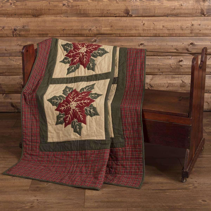 National Quilt Museum Poinsettia Block Quilted Throw 60x50