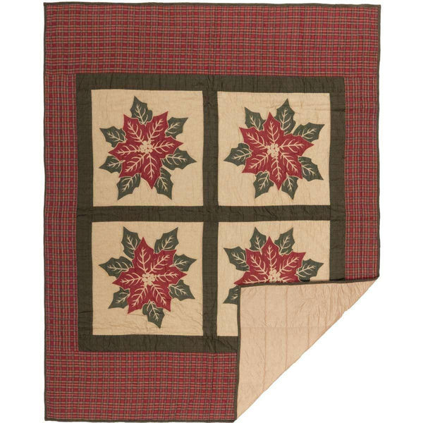 National Quilt Museum Poinsettia Block Quilted Throw  Online