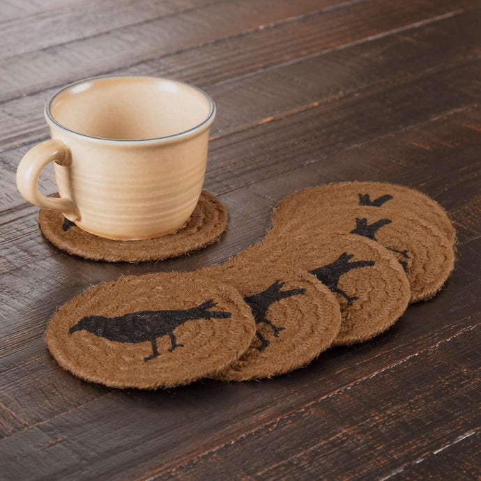 Heritage Farms Crow Jute Coaster Set of 6 VHC Brands