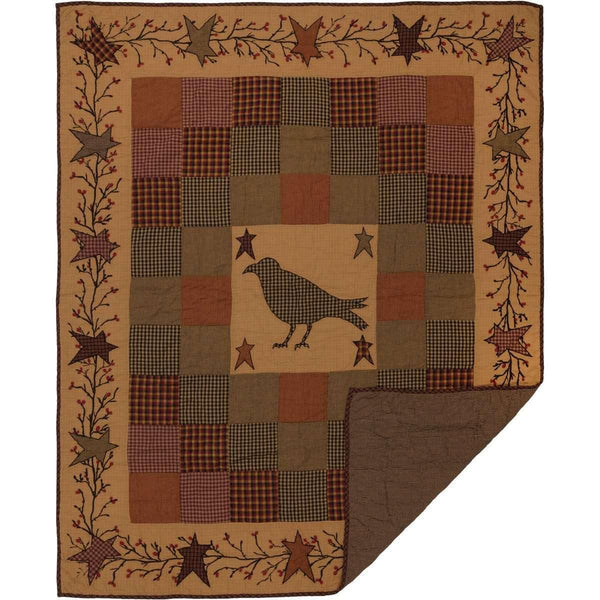 Heritage Farms Applique Crow and Star Quilted Throw  VHC Brands