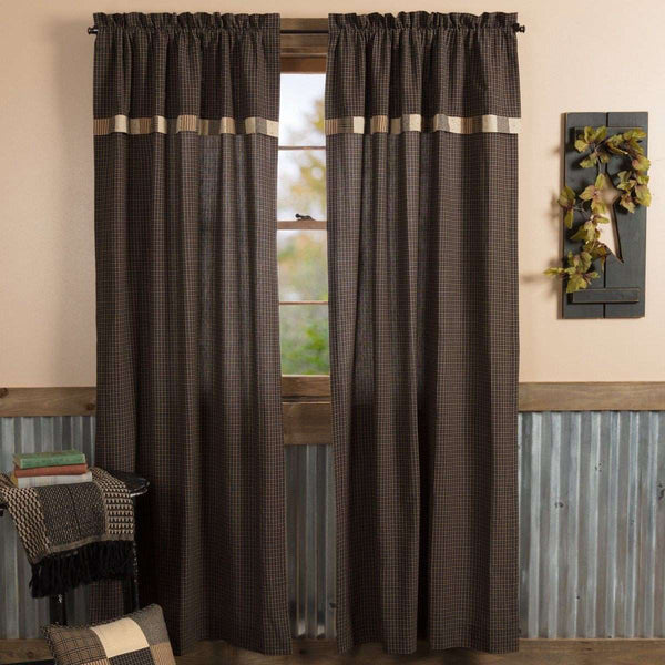 "Kettle Grove Panel Curtain with Attached Valance Block Border Set of 2 84""x40"" - The Fox Decor"