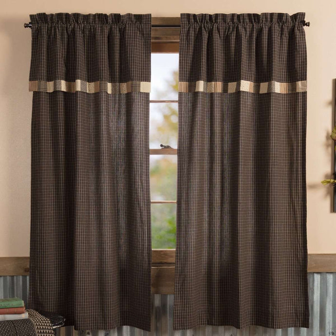 Kettle Grove Short Panel Curtain with Attached Valance Block Border Set of 2 36