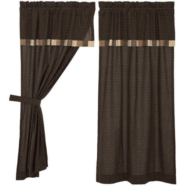 "Kettle Grove Short Panel Curtain with Attached Valance Block Border Set of 2 36""x63"" - The Fox Decor"