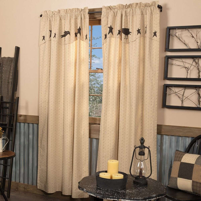 Kettle Grove Panel Curtain with Attached Applique Crow and Star Valance Set of 2 84x40 - The Fox Decor