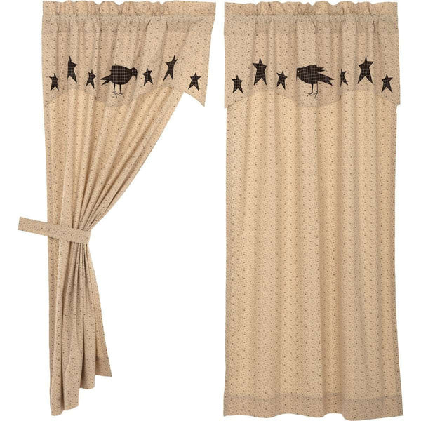 Kettle Grove Short Panel Curtain with Attached Applique Crow and Star Valance Set of 2 63x36 VHC Brands - The Fox Decor