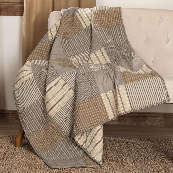 Sawyer Mill Charcoal Block Quilted Throw 60x50 VHC Brands