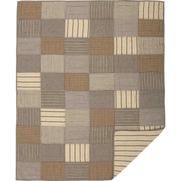 Sawyer Mill Charcoal Block Quilted Throw 60x50 VHC Brands folded