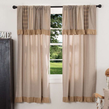 "Sawyer Mill Charcoal Short Panel Curtain with Attached Patchwork Valance Set of 2 36""x63"" - The Fox Decor"