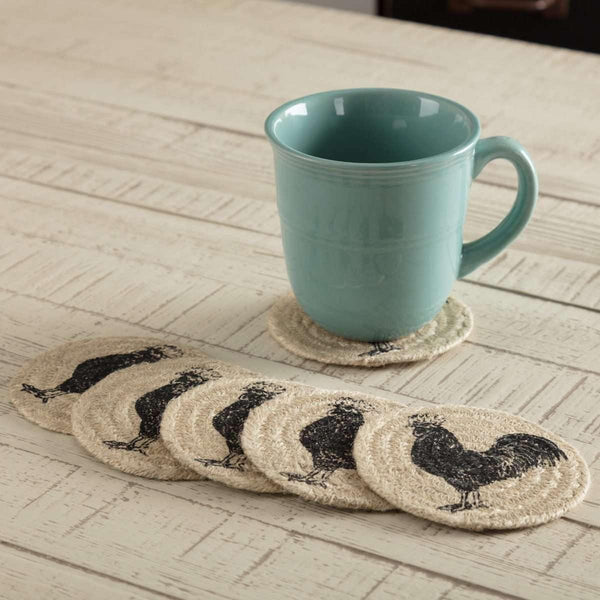 Sawyer Mill Charcoal Poultry Jute Coaster Set of 6 VHC Brands