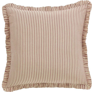 Ozark Red Ticking Stripe Euro Sham 26x26 VHC Brands