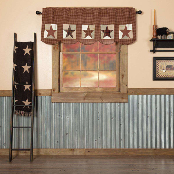 Abilene Patch Block and Star Valance Curtain Burgundy VHC Brands - The Fox Decor
