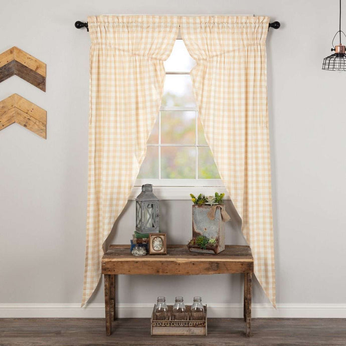 Annie Buffalo Tan Check Prairie Long Panel Curtain Set of 2 - The Fox Decor