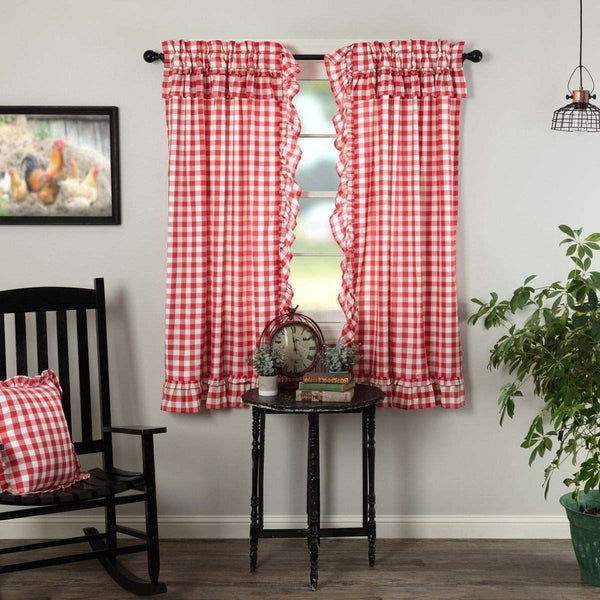 "Annie Buffalo Red Check Ruffled Short Panel Curtain Set of 2 63""x36"" VHC Brands - The Fox Decor"