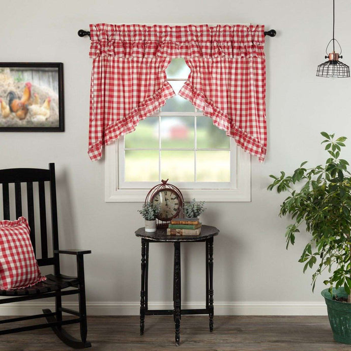 Annie Buffalo Red Check Ruffled Prairie Swag Curtain Set of 2 - The Fox Decor