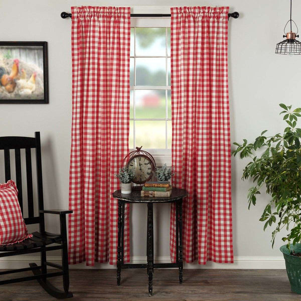 Annie Buffalo Black/Grey/Red/Tan Check Panel Curtain Set of 2 84x40 - The Fox Decor