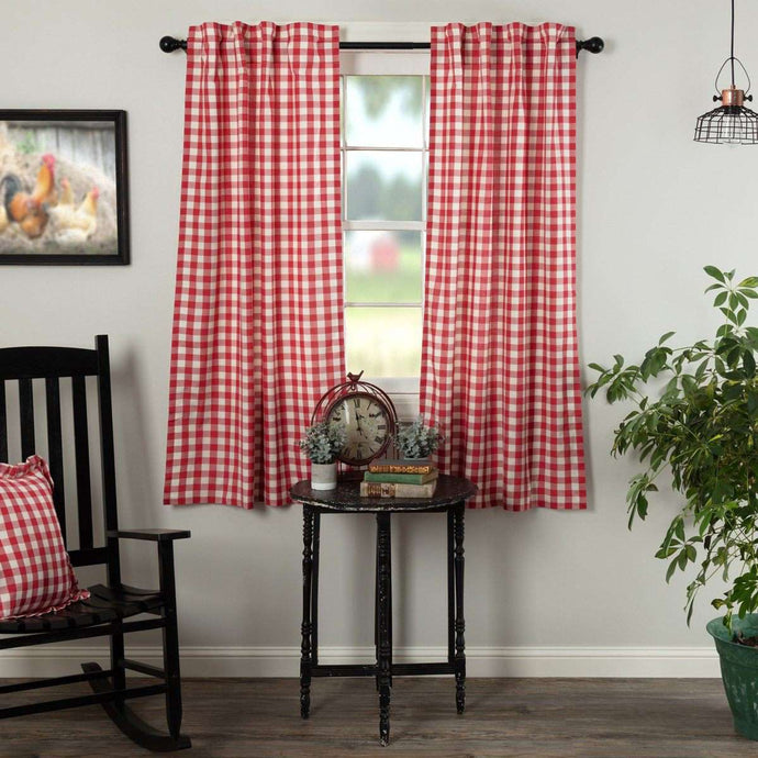 Annie Buffalo Red Check Short Panel Curtain Set of 2 63
