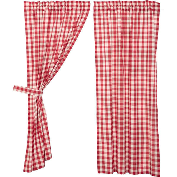 "Annie Buffalo Red Check Short Panel Curtain Set of 2 63""x36"" VHC Brands - The Fox Decor"