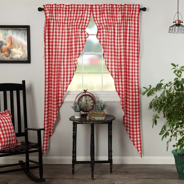 Annie Buffalo Red Check Prairie Long Panel Curtain Set of 2 - The Fox Decor