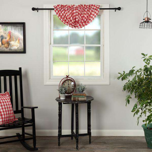 Annie Buffalo Check Balloon Valance Red