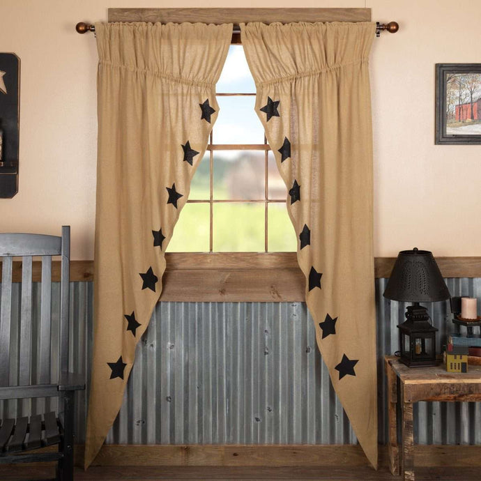 Burlap W/Black Stencil Stars Prairie Long Panel Curtain Set of 2 - The Fox Decor