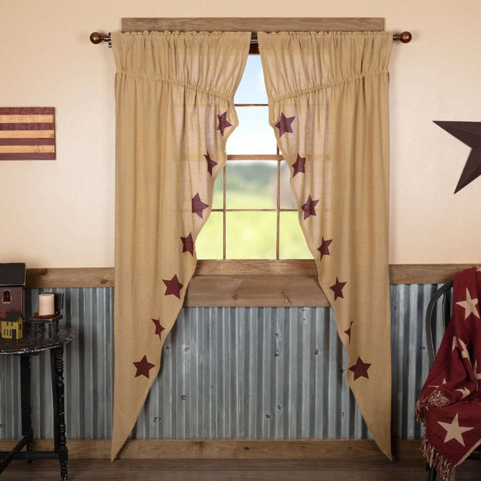 Burlap W/Burgundy Stencil Stars Prairie Long Panel Curtain Set of 2 - The Fox Decor