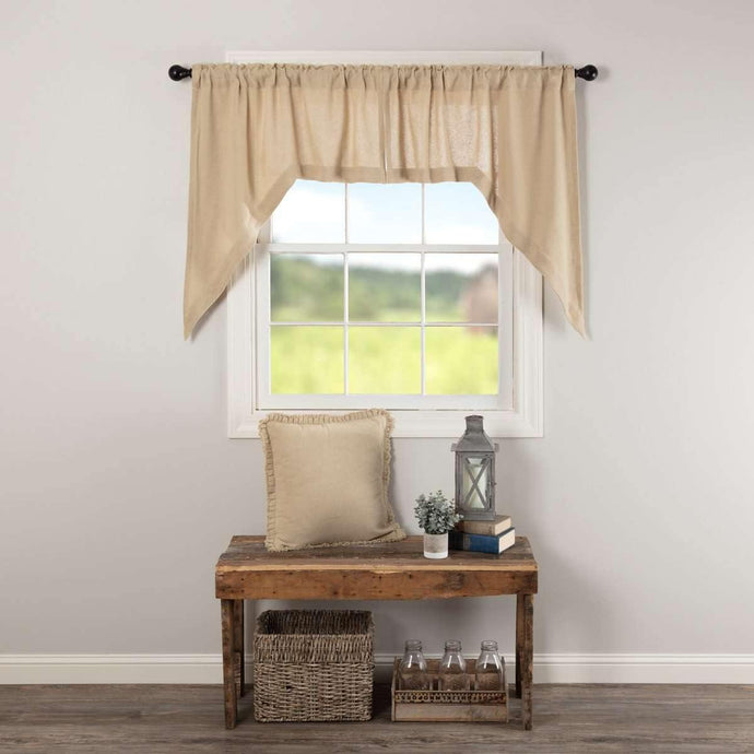 Burlap Vintage Swag Curtain Set of 2 36x36x16 VHC Brands