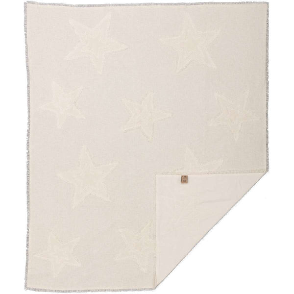 "Burlap Antique White Star Woven Throw 60"" x 50"" VHC Brands - The Fox Decor"