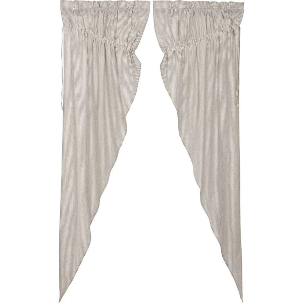Hatteras Seersucker Blue Ticking Stripe Prairie Long Panel Curtain Set of 2 - The Fox Decor