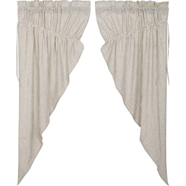 Hatteras Seersucker Blue Ticking Stripe Prairie Short Panel Curtain Set of 2 - The Fox Decor