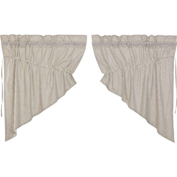 Hatteras Seersucker Blue Ticking Stripe Prairie Swag Curtain Set of 2 - The Fox Decor