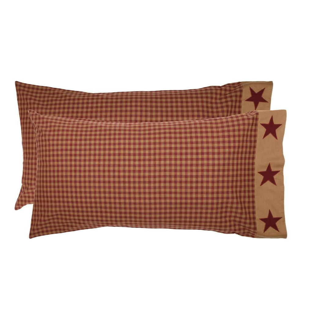 Ninepatch Star King Pillow Case w/Applique Border Set of 2 21x40 VHC Brands