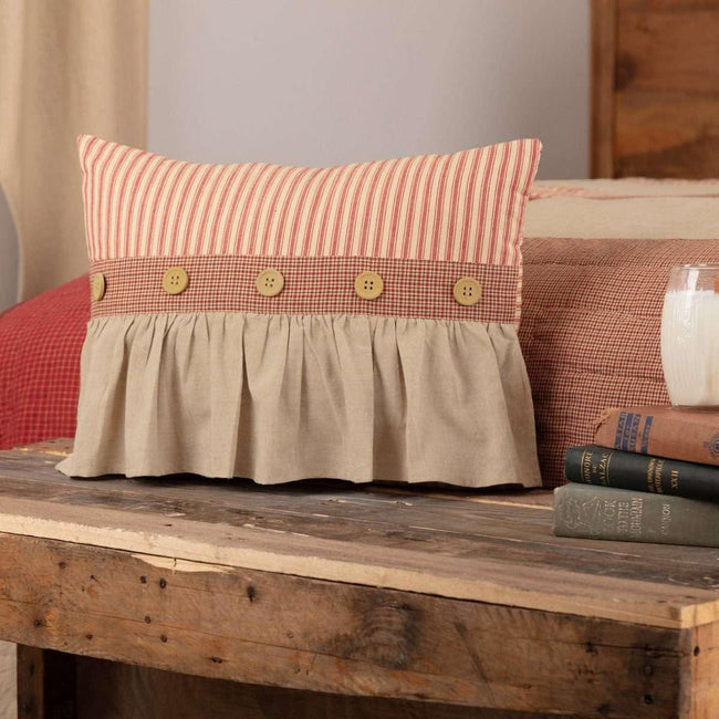 Rory Schoolhouse Red Ruffled Pillow 14x18 VHC Brands
