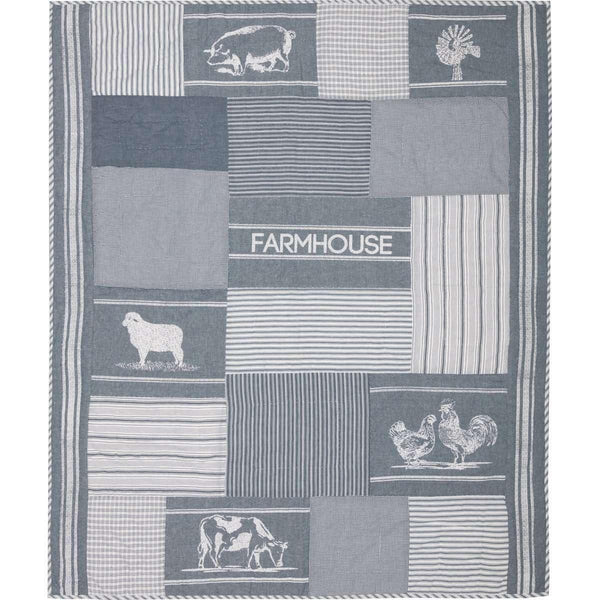 Sawyer Mill Blue Farm Animal Quilted Throw 60x50 VHC Brands Online
