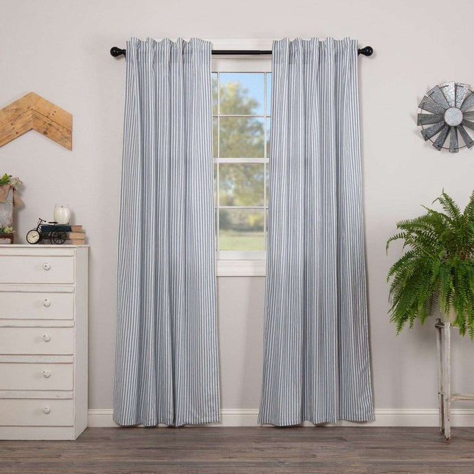 Sawyer Mill Blue Ticking Stripe Panel Curtain Set of 2