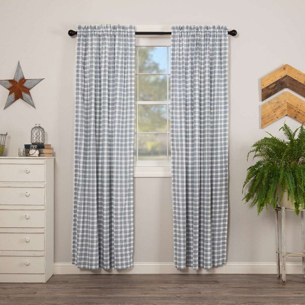 Sawyer Mill Charcoal/Blue/Red Plaid Panel Curtain Set of 2 84x40 - The Fox Decor