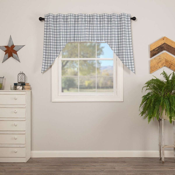 "Sawyer Mill Blue Plaid Swag Curtain Set 36"" x 36"" VHC Brands - The Fox Decor"