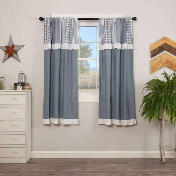"Sawyer Mill Blue Short Panel Curtain with Attached Patchwork Valance Set of 2 36""x63"" - The Fox Decor"