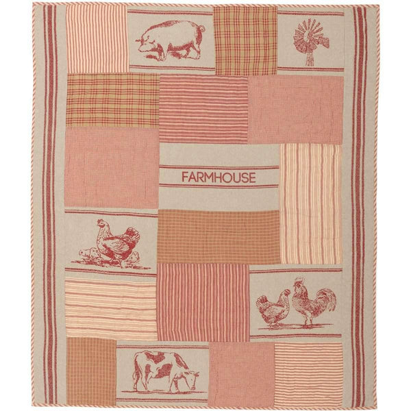 Sawyer Mill Charcoal Farm Animal Quilted Throw 60x50 VHC Brands  Online