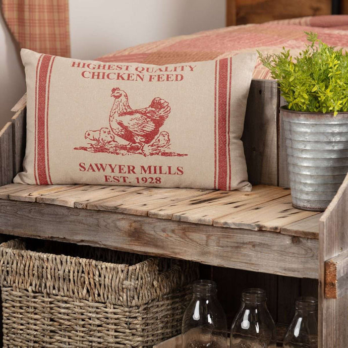 Sawyer Mill Red Hen and Chicks Pillow 14