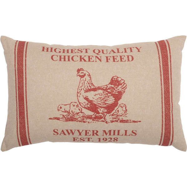 "Sawyer Mill Red Hen and Chicks Pillow 14""x22"" Country Red, Khaki VHC Brands - The Fox Decor"