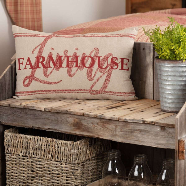 "Sawyer Mill Red Farmhouse Living Pillow 14""x22"" Country Red, Khaki VHC Brands - The Fox Decor"