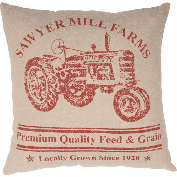 "Sawyer Mill Charcoal Tractor Pillow Red 18"" - The Fox Decor"