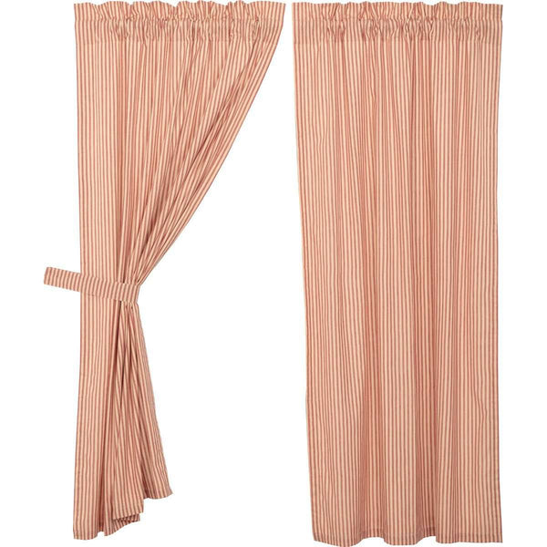 "Sawyer Mill Red Ticking Stripe Short Panel Curtain Set of 2 63""x36"" - The Fox Decor"