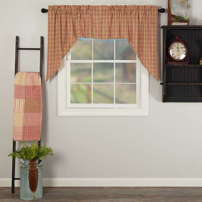 Sawyer Mill Red Plaid Swag Curtain Set 36