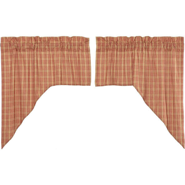 "Sawyer Mill Red Plaid Swag Curtain Set 36"" x 36"" VHC Brands - The Fox Decor"