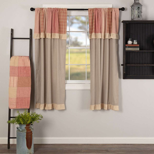 "Sawyer Mill Red Short Panel Curtain with Attached Patchwork Valance Set of 2 36""x63"" - The Fox Decor"