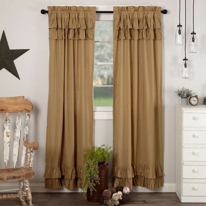 Simple Life Flax Khaki Ruffled Panel Country Curtain Set of 2 84