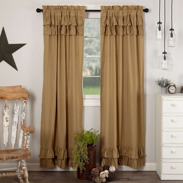 "Simple Life Flax Khaki Ruffled Panel Country Curtain Set of 2 84""x40"" - The Fox Decor"