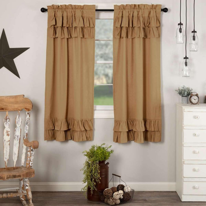 Simple Life Flax Khaki Ruffled Short Panel Curtain Set of 2 63x36 VHC Brands